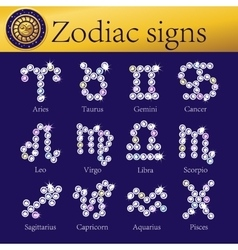 Zodiac signs full set of shining vector image