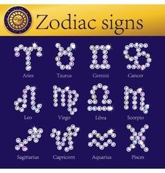 zodiac signs full set shining vector image