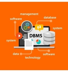 dbms database management system computer data vector image vector image