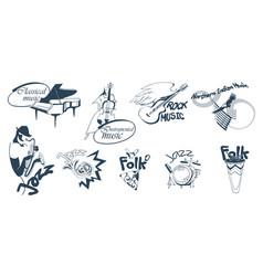 hand drawn music logotypes set vector image vector image