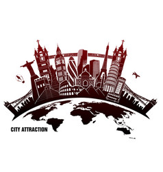 landmarks from around world in grunge style vector image