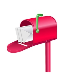 red mailbox with letters vector image