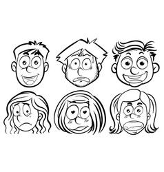 six faces with different emotions vector image