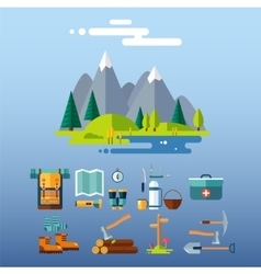 Camping Equipment Icons Flat Design vector image