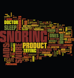 Effective snore aids text background word cloud vector