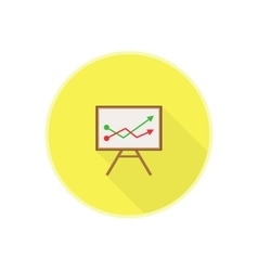 flat icon with office chalkboard Red and vector image