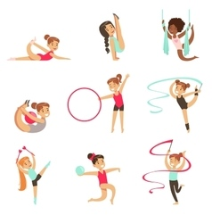 Little Girls Doing Gymnastics And Acrobatics vector image vector image