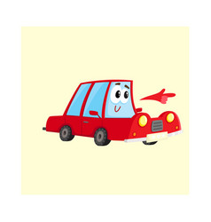 red car character pointing to something with its vector image