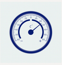 round thermometer blue icon on notebook sheet vector image