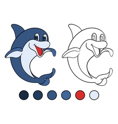 Smiling dolphin is standing on his tail vector image