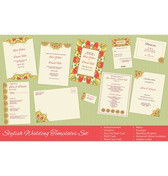 Stylish Wedding Templates Set vector image