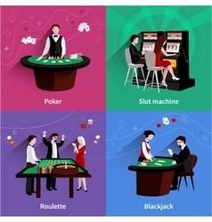 People in casino set vector
