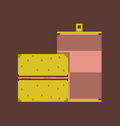 Pixel icon in flat style burger and can of soda vector