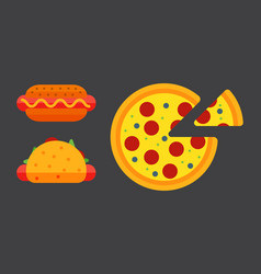 set of colorful cartoon fast food pizza icons vector image