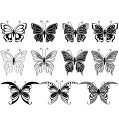 set of eleven ornamental butterflies vector image