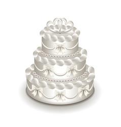 wedding cake isolated on white vector image vector image