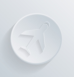 circle icon with a shadow airplane vector image