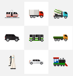 Set of 9 editable automobile icons includes vector
