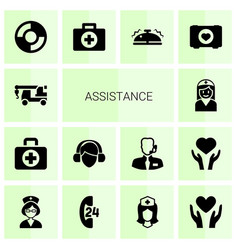 14 assistance icons vector
