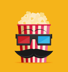 3d glasses and big popcorn flat vector