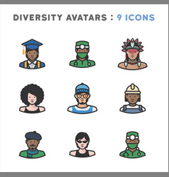 9 avatar icons of diverse people vector