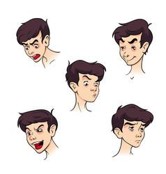 A colorful set boy emotions vector
