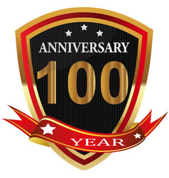 anniversary 100 th label with ribbon vector image
