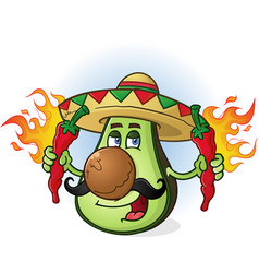 Avocado cartoon character holding hot peppers vector