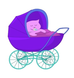Baby cartoon in the baby carriage vector