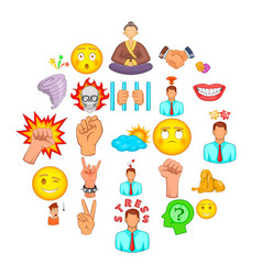 Belief icons set cartoon style vector