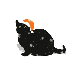 Black cat in a red hat vector image