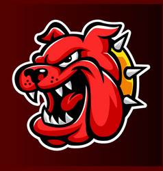 bulldog red annimal head logo icon vector image