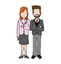 Business man and woman executive managers success vector