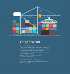 cargo container ship and text vector image