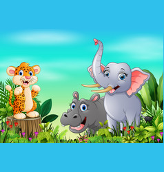 Cartoon wild animal in the beautiful garden vector
