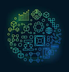 Colorful blockchain round modern vector