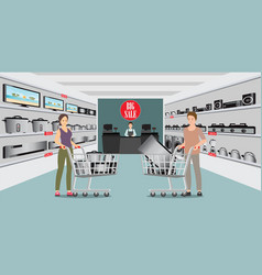 Customer shopping at electronic department store vector
