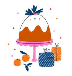 cute christmas pudding cartoon character vector image