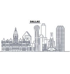 Dallas united states outline travel skyline vector