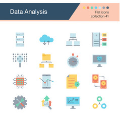 data analysis icons flat design collection 41 vector image