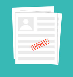 denied reject document with stamp grey vector image