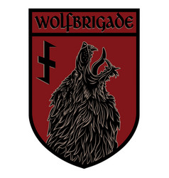 Design patch heraldic shield with a werewolf and vector