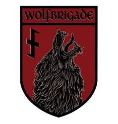 Design patch heraldic shield with a werewolf vector