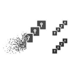 Dispersed dot halftone locker blockchain icon vector