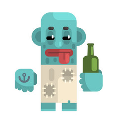 Drunk alcoholic with blue skin holding wine bottle vector