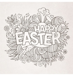 Easter hand lettering and doodles elements vector image