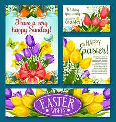 easter holidays banner template set with flowers vector image