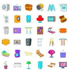 equipment icons set cartoon style vector image