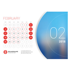 February 2018 desk calendar for 2018 year vector