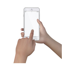 female hands hold smartphone with blank screen vector image